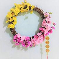 Vòng hoa mai hoa đào trang trí tết H06