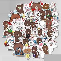 Set 60 sticker Gấu Thỏ Line Brown and Cony hình dán có ép lụa