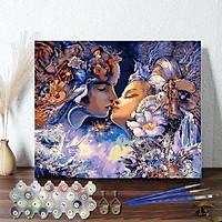 Tranh sơn dầu số hoá tự tô đã căn sẵn khung 40x50 cm (painting by number) - R060 Đôi tình nhân