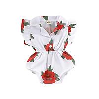 Summer Infant Baby Girls Floral Floral Print Flare Sleeve Rompers Kids Bodysuit Jumpsuit Newborn Clothes Panties