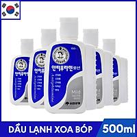 Bộ 5 Chai Dầu Lạnh Xoa Bóp Massage Hàn Quốc Antiphlamine Mild màu xanh - Đau nhức cơ thể, giúp da mềm mại - Chai 100ml