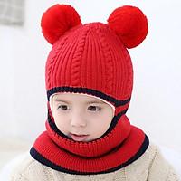 Mũ len cho bé trùm kín mặt cổ tai trán lót nỉ ấm mềm min bé trai bé gái- mu len cho be