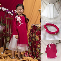 Set Áo dài cách tân bé gái hồng  mặc tết siêu xinh