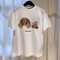 Áo thun nữ nam màu trắng ngắn tay unisex phong cách năm nay với họa tiết bear, chất liệu cotton mát mẻ, co dãn