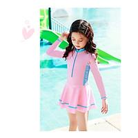 Bộ bơi bé gái dài tay liền chân váy (2-10 tuổi)