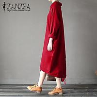ZANZEA Women Casual Loose Long Sleeve Turtleneck Side Pockets Solid Sweatshirt Dress Red