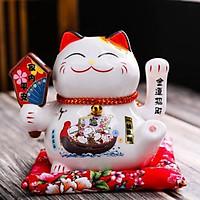 Mèo Thần Tài  Maneki Neko  vẫy tay chiêu tài lộc 16cm bằng gốm sứ - mẫu giao ngẫu nhiên