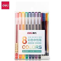 Set Bút Gel Nhiều Màu Deli – 8 Màu Kèm 8 Ống Mực Thay Thế - 33160