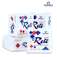 Combo 10 khăn giấy ăn cao cấp Roto Care102 hai lớp 100% bột giấy nguyên chất, kích thước 30x30cm, giấy trắng, mềm mịn, gồm 102 tờ/gói