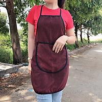2 tạp dề nấu bếp, thiết kế đơn giản, có túi đựng điện thoại phía trước, kích thước freesize, chất liệu vải dù mỏng, không thấm nước (Nhiều mẫu mã hoa văn)
