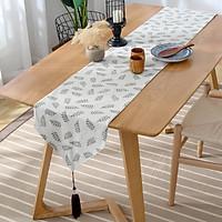 Khăn trải bàn table runner vải bố - Họa tiết Lá xanh - mẫu B04