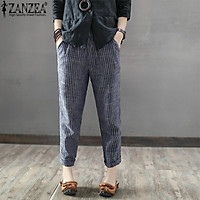ZANZEA Women Plus Size Pants Striped Office OL High Waist Pencil Trousers