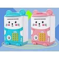 Két sắt mini có chế độ  vân tay hình mèo dễ thương (cho bé tiết kiệm bảo quản tiền của bé)-giao màu ngẫu nhiên-kèm tặng giá đỡ điện thoại lúc sạc