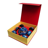 Bộ  trà quà tặng Ấm chấm nhật  Đông Gia men xanh Sóng Biển 8094