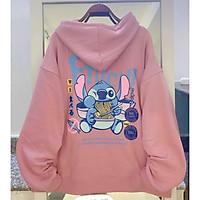 Áo nỉ hoodie nam nữ form rộng, in hình con thỏ ăn mì