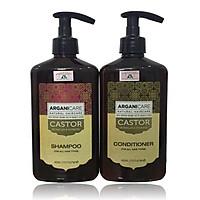 Bộ gội xả Arganicare Castor shampoo & conditioner dưỡng ẩm phục hồi ngăn ngừa rụng tóc Israel 400ml