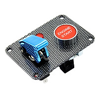 Car Marine Boat RV Start Push Button + Toggle Switch with Blue Cover Panel
