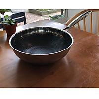 Chảo Chống Dính Inox Cao Cấp Sâu Lòng Đáy Từ Công Nghệ Blackcube Berndorf size 24 Non-Stcik Stainless Steel  Fry Wok