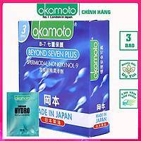 Bao cao su Beyond Seven 54mm Okamoto JAPAN. Siêu mỏng, truyền nhiệt tốt, 7 Tầng Bảo Vệ Hộp 3 Cái. (Che tên sản phẩm khi giao) CONDOM Tặng Gel okamoto bôi trơn.