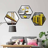 Bộ 3 tranh decor hình lục giác treo tường, thiết kế hiện đại, độc đáo, phù hợp với nhiều không gian - LG006