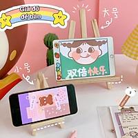 Giá gỗ màu xinh để bàn phong cách Hàn Quốc, chống lưng điện thoại sách vở ngồi học online