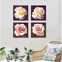 Tranh dán tường bộ 4 bông hồng phong cách vintage Tipo_0239