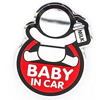 Sticker hình dán metal Baby in car - Màu đỏ