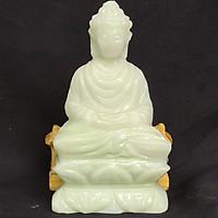 Tượng Phật Thích Ca Đá Trắng Xanh - 10 Cm - Mx