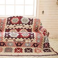 Thảm cotton phủ ghế sofa Thảm khăn trang trí phong cách Âu Mỹ tông đỏ