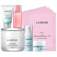 Bộ Kem dưỡng nâng tông da trắng hồng tự nhiên Laneige White Dew Tone Up Cream 50ml + tặng Bộ dưỡng trắng làm sáng da White Dew Trial Kit