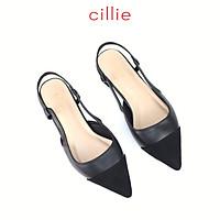 Giày sandal nữ phối màu bít mũi hở hậu Cillie 1212