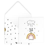 Thiệp tình bạn, tình cảm với bố mẹ, tình yêu Valentine WITH LOVE vuông 12cm SDstationery PANDA gấu trúc, cầu vồng, mây sao
