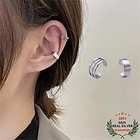Bông Tai Bạc S925 Bộ 2 Chiếc Ear Cuff Kẹp Vành Khoen C Bất Đối Xứng Trẻ Trung Cá Tính | Khuyên Tai Nữ Trang Sức Bạc
