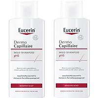 Combo 2 Chai Dầu Gội Dịu Nhẹ Cho Da Đầu Nhạy Cảm Eucerin Dermo Capillaire pH5 Mild Shampoo 250ml