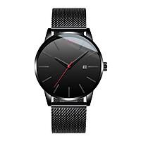 Đồng hồ nam dây xích mành màu đen có lịch
