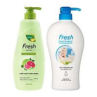Bộ dầu gội dưỡng tóc Fresh Tinh Dầu Bưởi 550g và sữa tắm Dê sáng da Fresh 550g