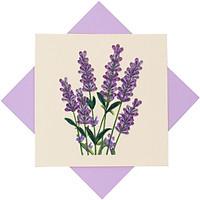 Thiệp Chúc Giấy Xoắn Thủ Công (Quilling Card) Hoa Lavender - Tặng Kèm Khung Giấy Để Bàn