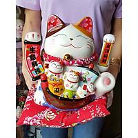 Mèo Thần Tài tay vẫy 25cm may mắn MIXU012 (tặng kèm 50 xu vàng mini)