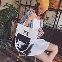 Balo thời trang, balo đi học, đựng laptop Túi Tote Mèo Mắt Long Lanh Mèo Cute balo nữ vải