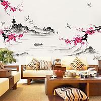 Decal dán tường hoa đào thủy mặc trang trí phòng sang trọng