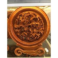 Tranh đĩa Tứ linh gỗ Hương ta hàng đục tay sắc nét, sang trọng ( đĩa 30cm )