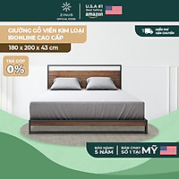 Giường Ngủ Zinus Gỗ Tự Nhiên Viền Khung Sắt Cao Cấp Và Tối Giản Ironline Hybrid Frame
