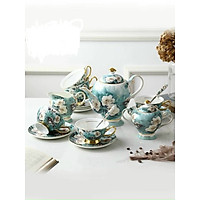 Bộ ấm trà sứ xương 15 chi tiết họa tiết  chim xanh