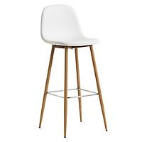 Ghế bar JYSK Jonstrup đệm bọc da PU màu trắng/chân kim loại sơn màu sồi 43x106x44cm