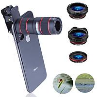 2D26 5 in 1 Phone Zoom Lens 12X HD Telephoto Monocular Macro Lens Kit Telescope Camera Portable Travel