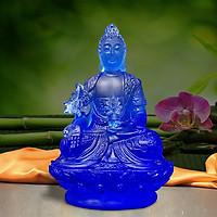 Tượng Phật Dược Sư Bằng Lưu Ly Cổ Pháp - áo họa tiết – cao 12cm