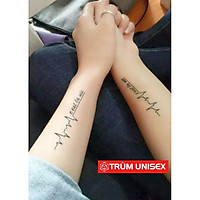 Tấm dán xăm tatoo Nam Nữ độc đáo Nhịp tim C'Est lavie Meo 1 tấm gồm 3 hình TNSTATTOO01