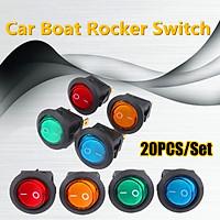 20PCS ON/OFF Round Rocker Switch LED illuminated Car Dashboard Dash Boat Van 12V