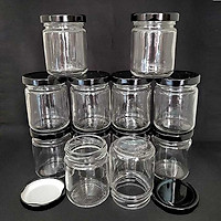 Hũ Làm Sữa Chua Thủy Tinh 100ml (combo 10 hủ) mẫu Trụ Tròn - nắp thiếc đen - Hũ chưng yến, lọ đựng gia vị, tổ yến, mật ong, dầu dừa, sữa ong chúa, thực phẩm, mỹ phẩm