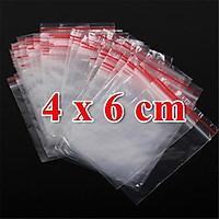1Kg 1kg Túi Zip PE, Zipper Chỉ Đỏ 4x6 cm (C5.301a)